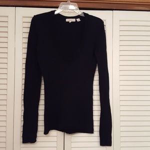 INHABIT BLACK CASHMERE V NECK L/S SWEATER  SIZE M